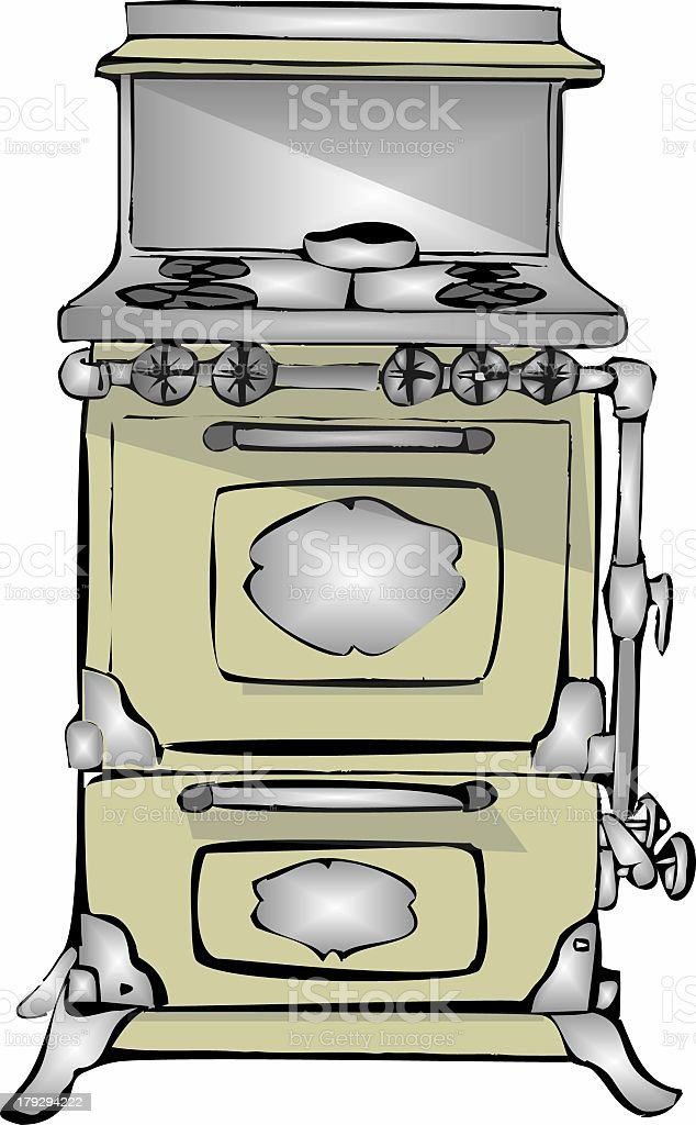 Old gas stove vector art illustration
