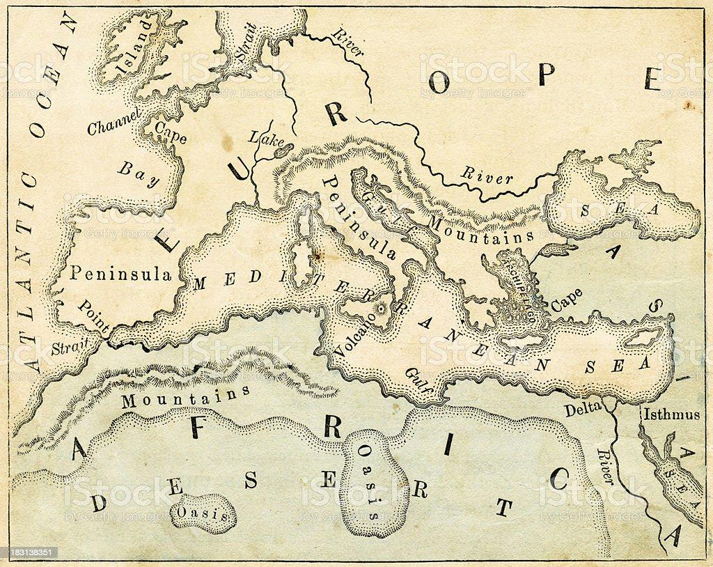 Vieille Carte Géographique De Leurope – Cliparts vectoriels et