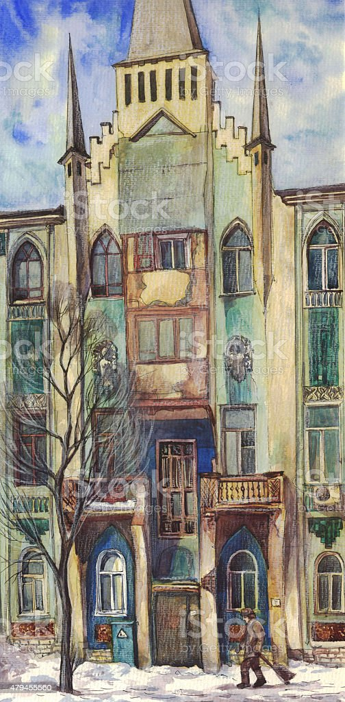 Old Gothic house in the winter. Watercolor vector art illustration