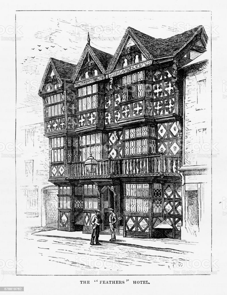 Old Gothic-style Inn in Ludlow, England Victorian Engraving, Circa 1840 vector art illustration