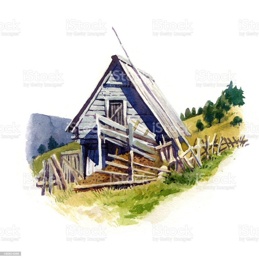 Old grey barn vector art illustration