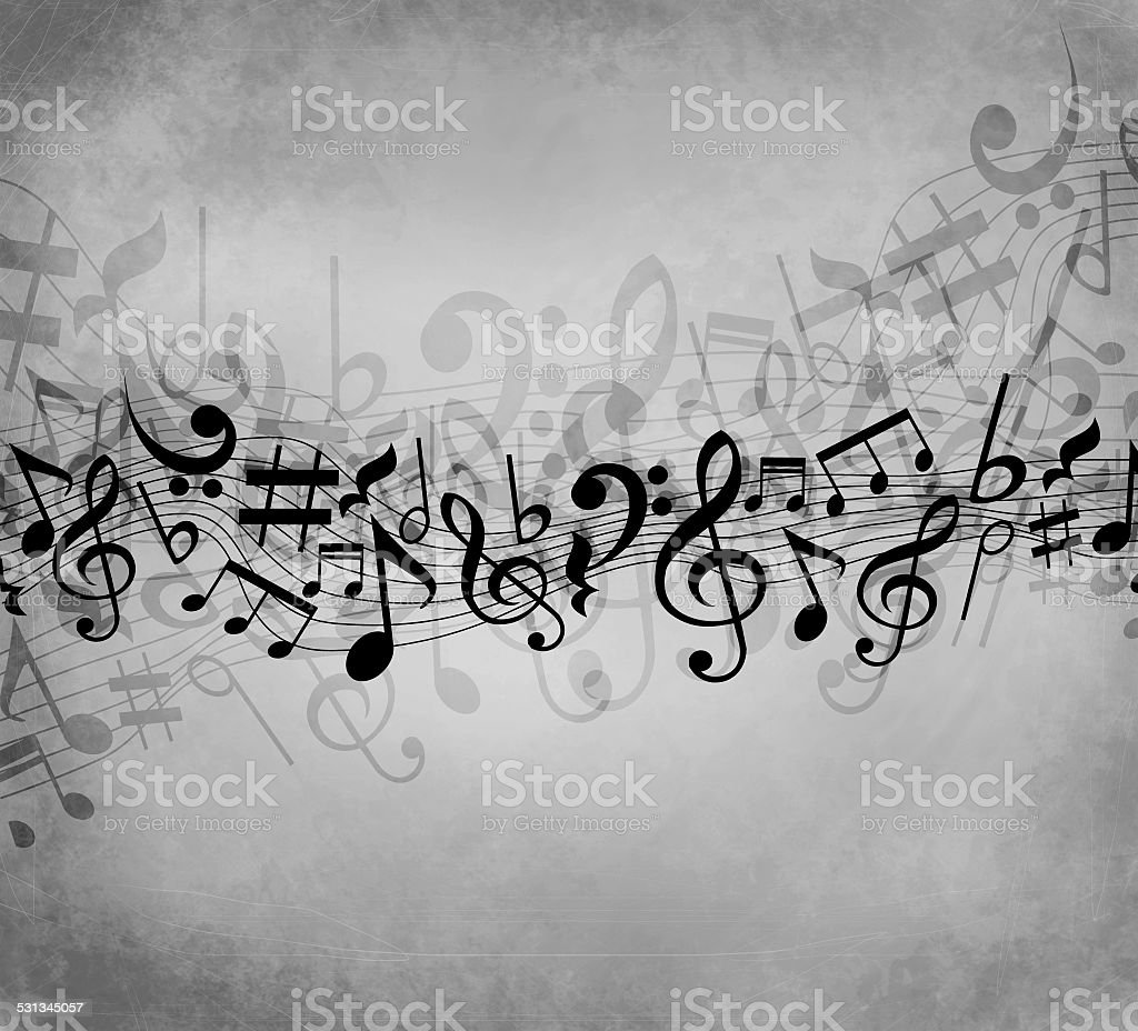 Old grunge gray music background with black notes vector art illustration