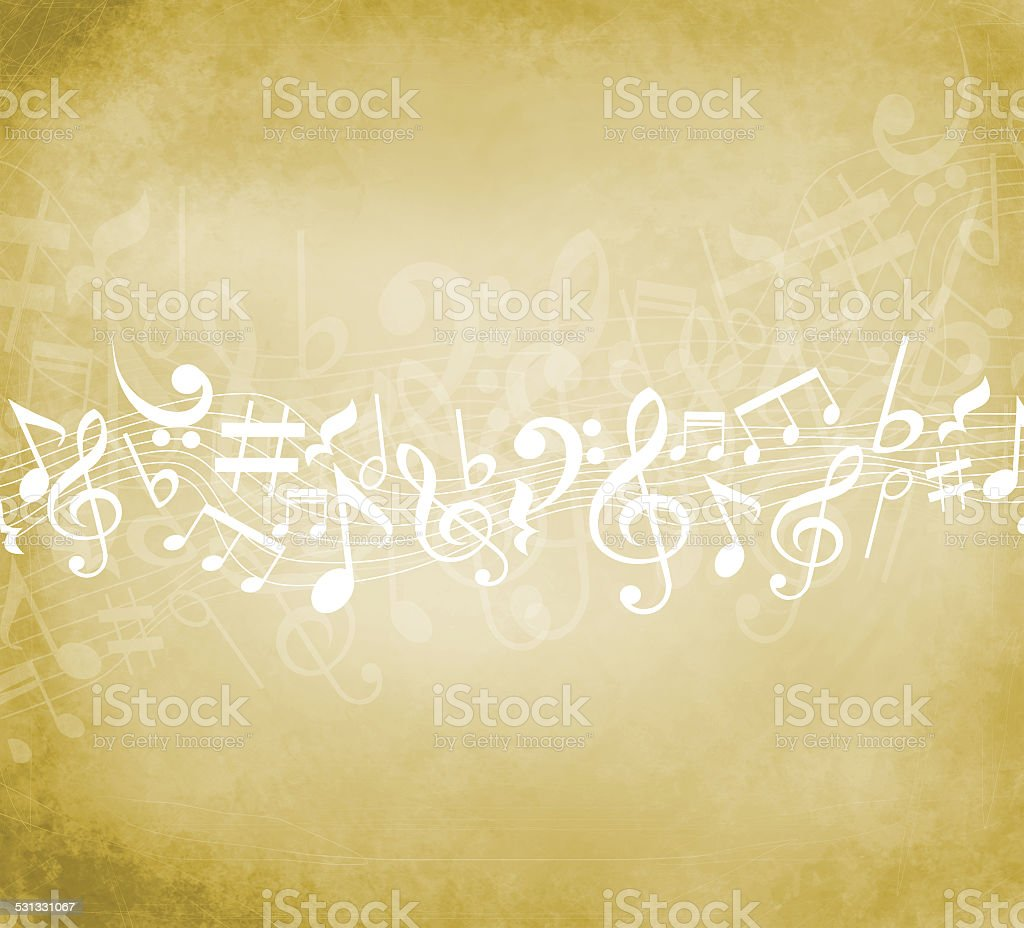 Old grunge music background with white notes vector art illustration