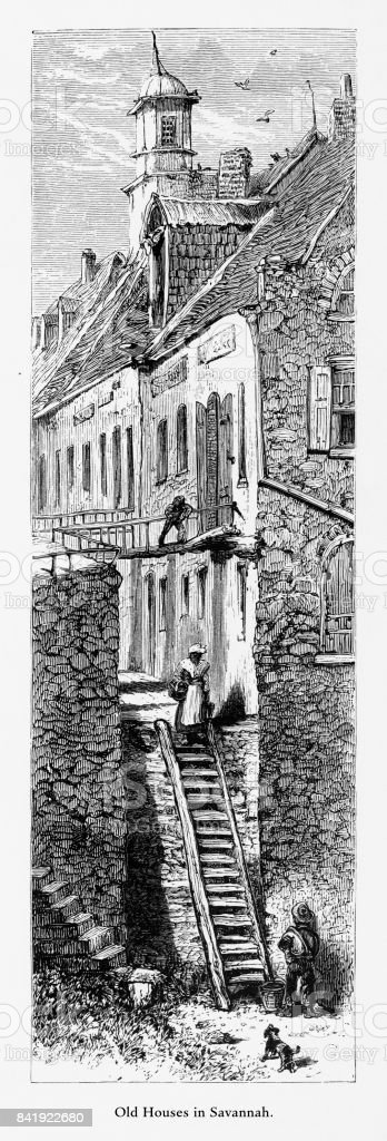 Old Historical Homes in Savannah, Georgia, United States, American Victorian Engraving, 1872 vector art illustration