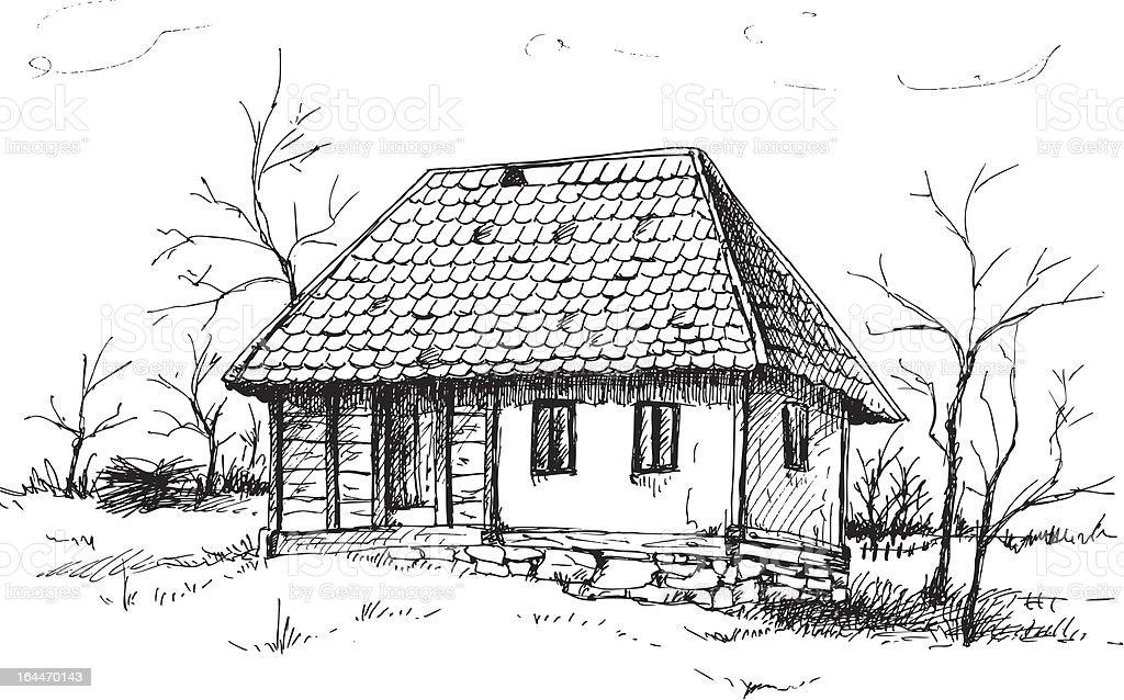Line Drawing Of Your House : Altes haus skizze stock vektor art und mehr bilder von