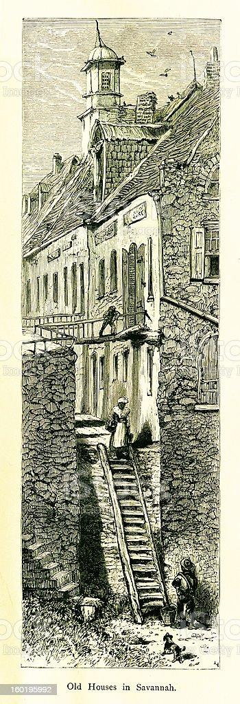 Old houses in Savannah, Georgia, USA vector art illustration
