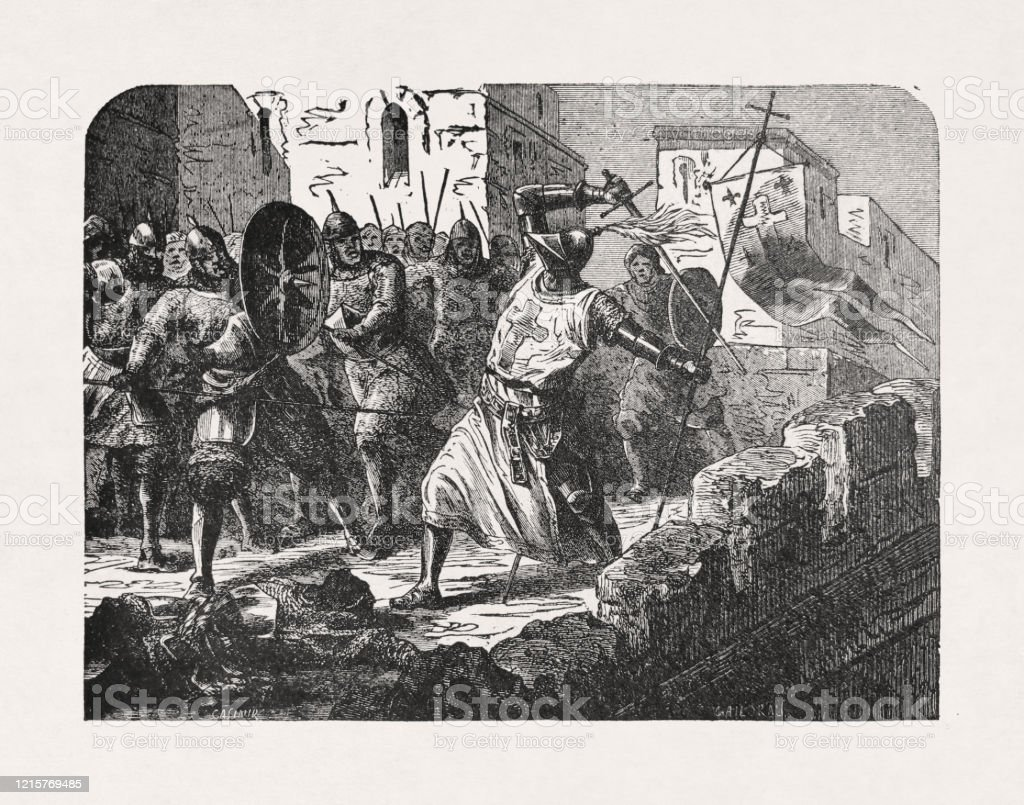 """Old illustration depicting a Knight Templar Old illustration depicting a Knight Templar fighting the Saracens in Jerusalem by """"Casimir"""" published in 1885. Archives stock illustration"""