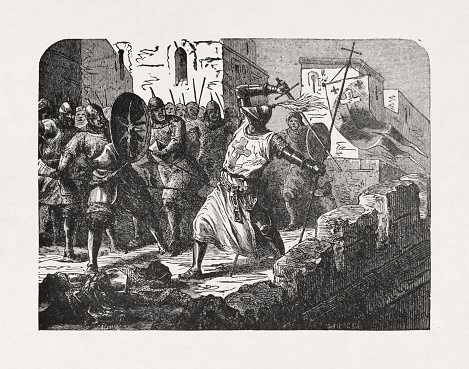 Old Illustration Depicting A Knight Templar Stock Illustration - Download Image Now