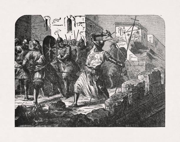 Old illustration depicting a Knight Templar vector art illustration