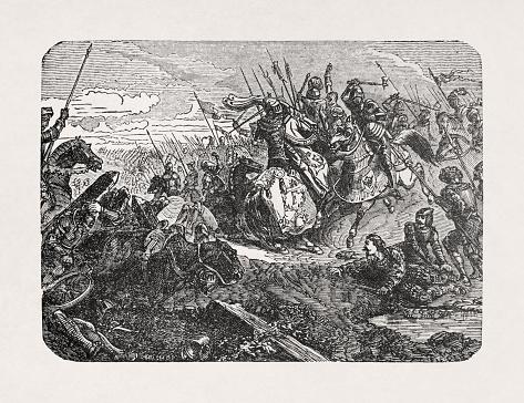 Old illustration of Francis I of France at the battle of Marignan