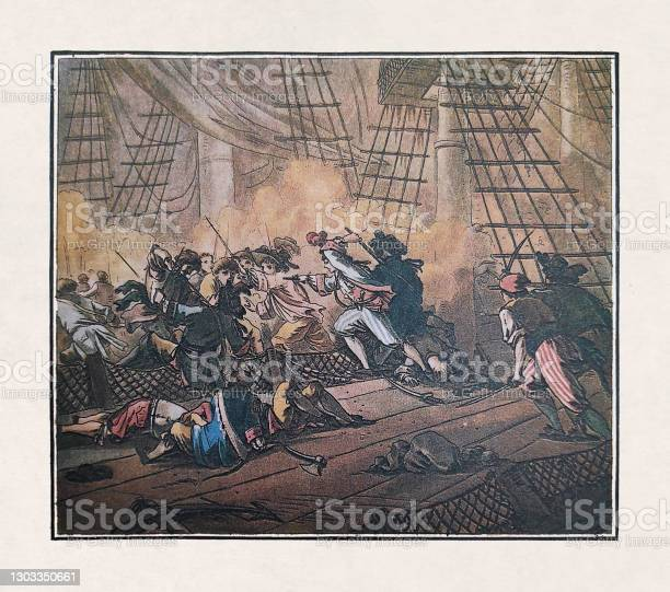 Old Illustration Of Jean Bart Taking The Dutch Convoy Stock Illustration - Download Image Now