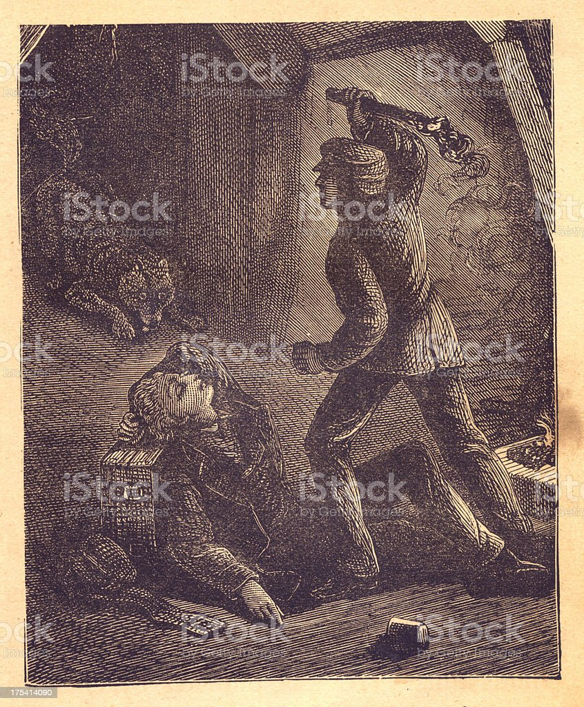 Old Illustration of Man Protecting Sleeping Person From Wolf vector art illustration