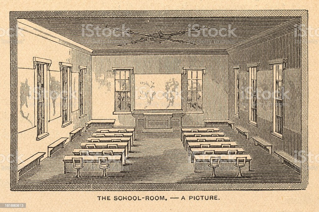 Old Illustration of School Room, From 1800's royalty-free stock vector art