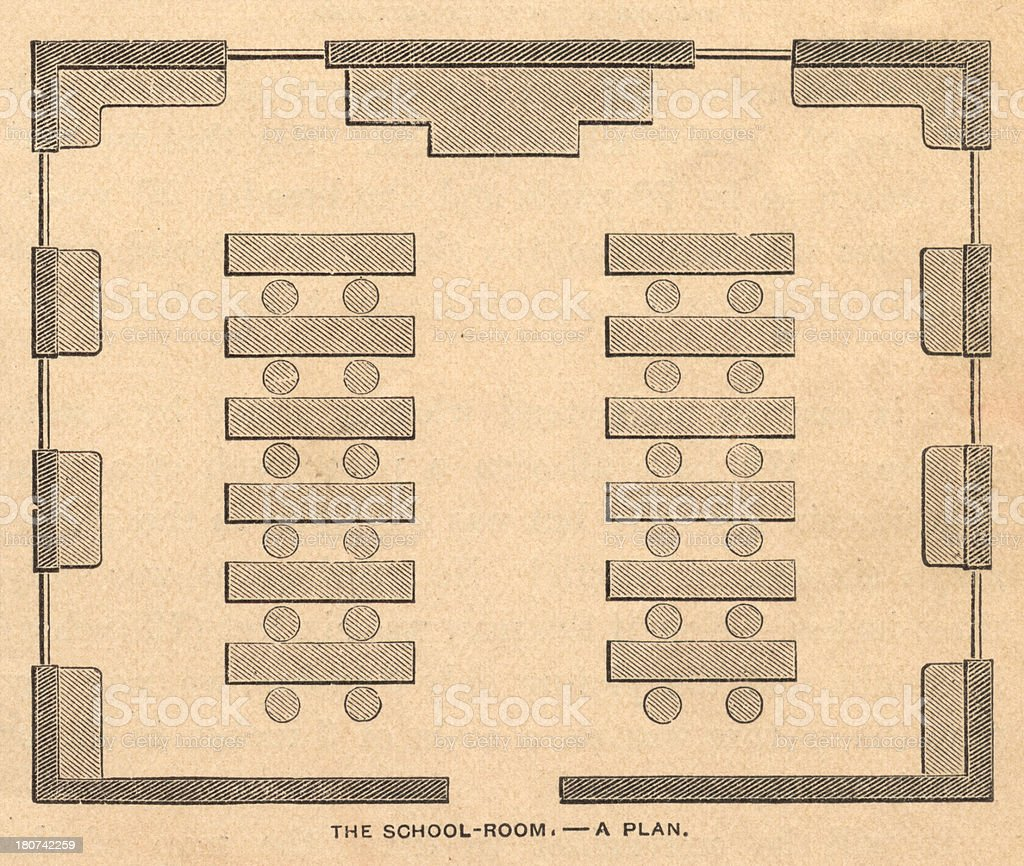 Old Illustration of School Room Plan, From 1800's royalty-free old illustration of school room plan from 1800s stock vector art & more images of 1870-1879