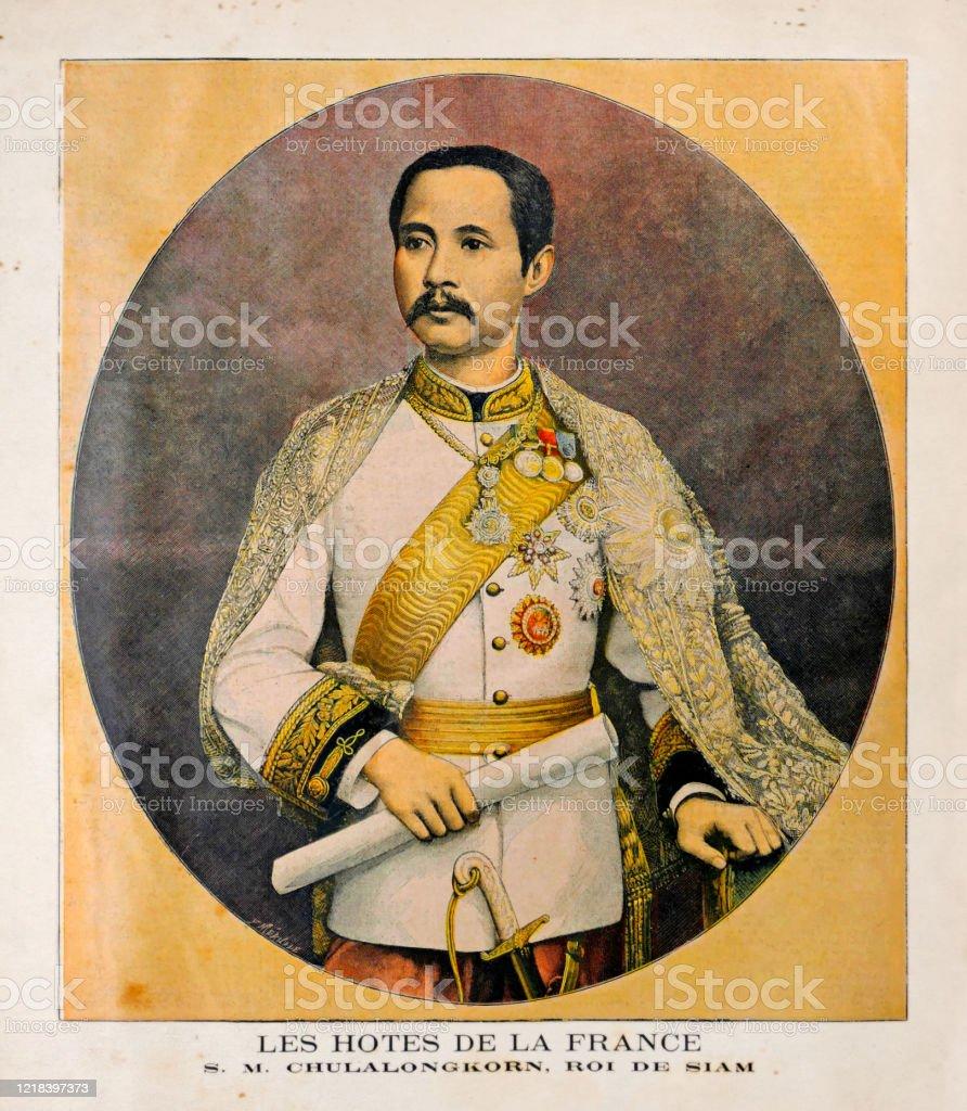 Old illustration of the King of Siam Chulalongkorn (Rama V) - Royalty-free 19th Century stock illustration