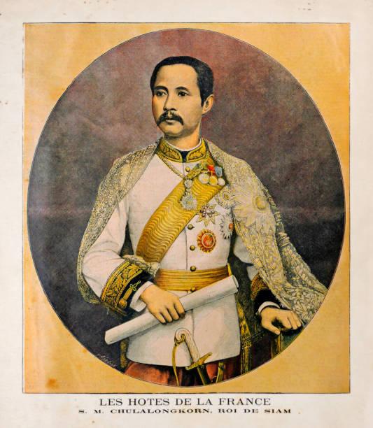 Old illustration of the King of Siam Chulalongkorn (Rama V) vector art illustration