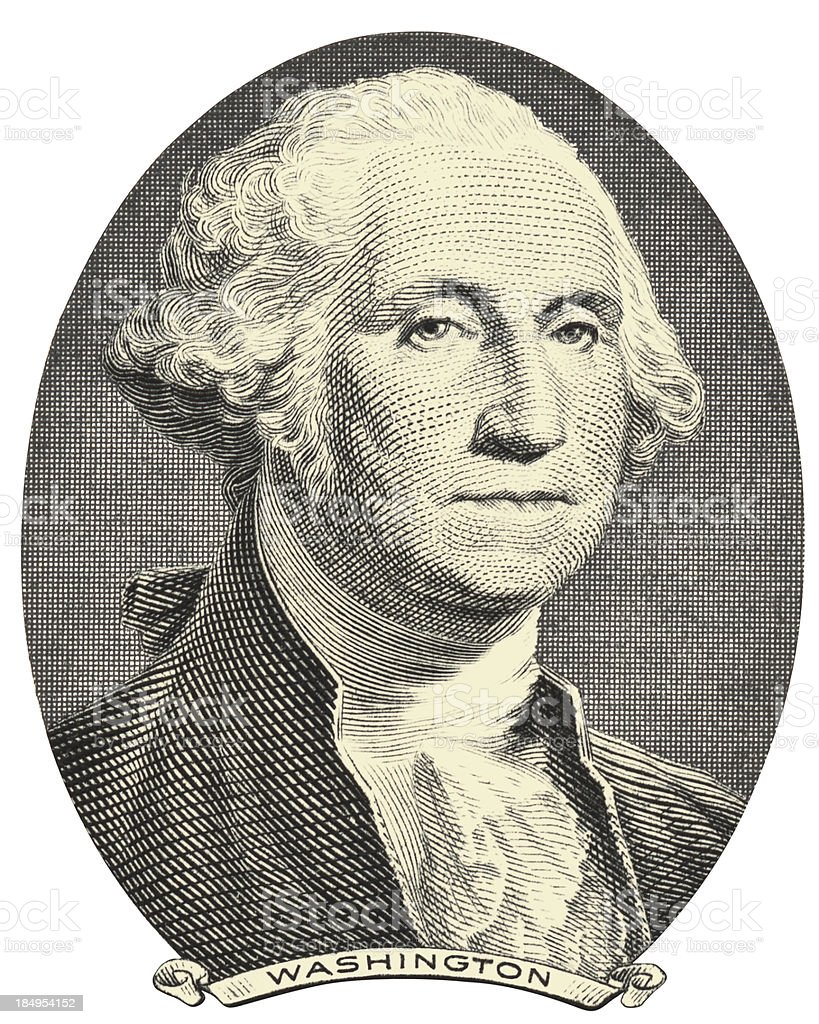 Old image of George Washington on a white background - 免版稅一美元鈔票插圖檔