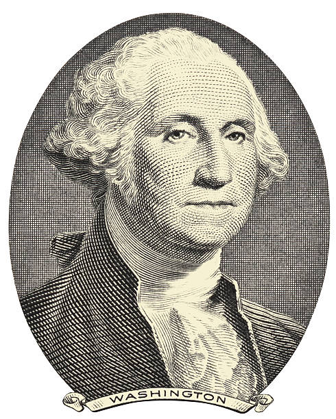 old image of george washington on a white background - dollar bill stock illustrations