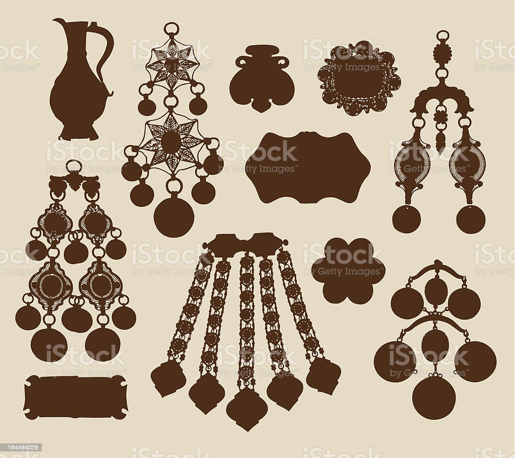 Old jewelery and treasures silhouettes royalty-free stock vector art