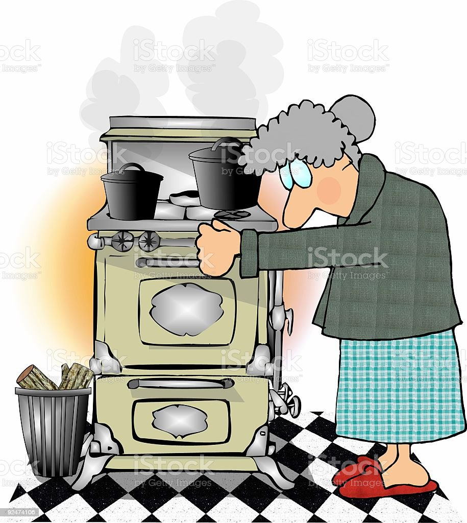 Old lady and her old stove royalty-free stock vector art
