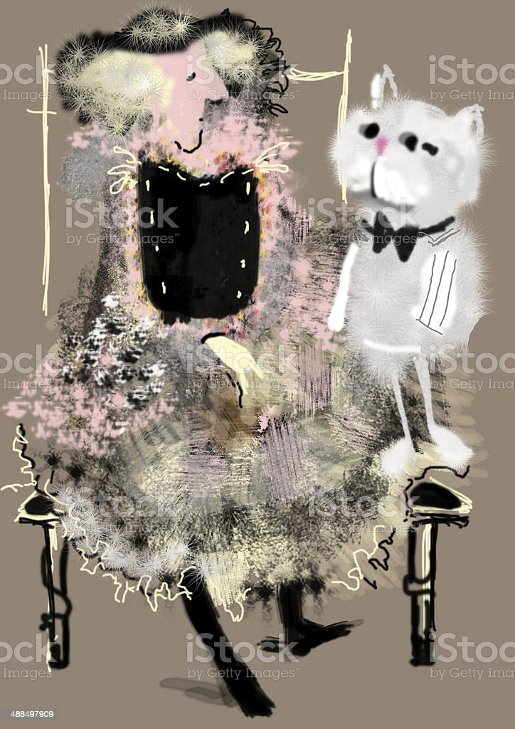 old lady sitting next to big gray cat with fly vector art illustration