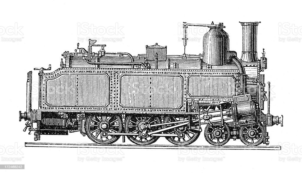 Old Locomotive Truck royalty-free stock vector art