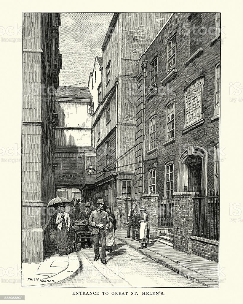Old London - Enterance to Great St Helen's vector art illustration