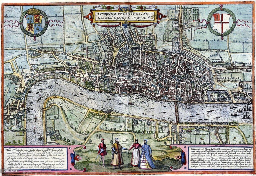 Old London map vector art illustration
