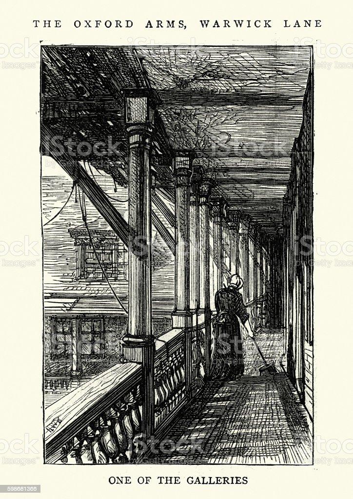 Old London Oxford Arms Inn, Warwick Lane, 1875 vector art illustration