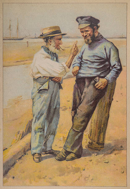 old man and the sailor talking - old man picture pictures stock illustrations, clip art, cartoons, & icons