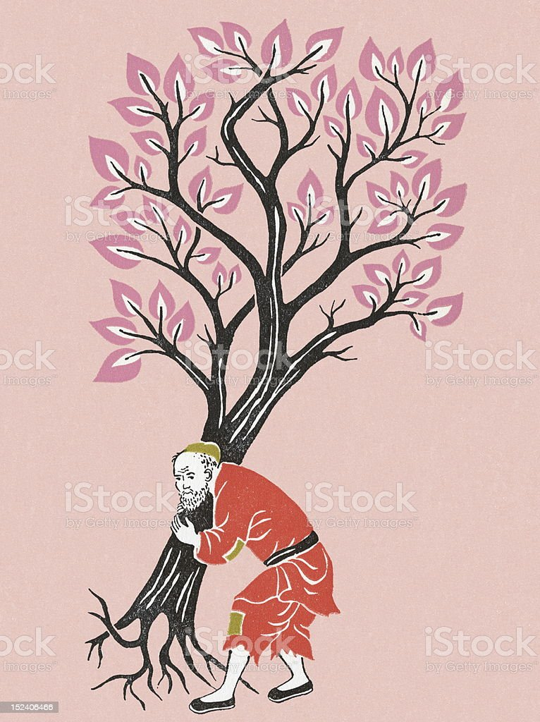Old Man Carrying Tree royalty-free stock vector art