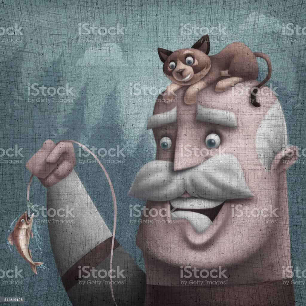 old man catching fish vector art illustration