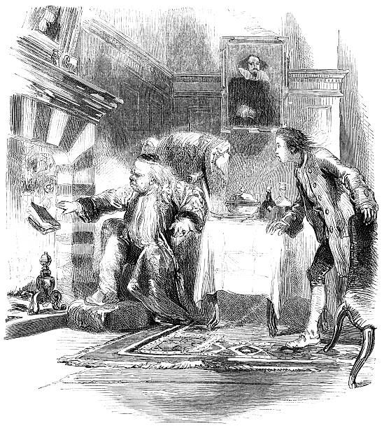 Old man destroying a book - Victorian engraving vector art illustration