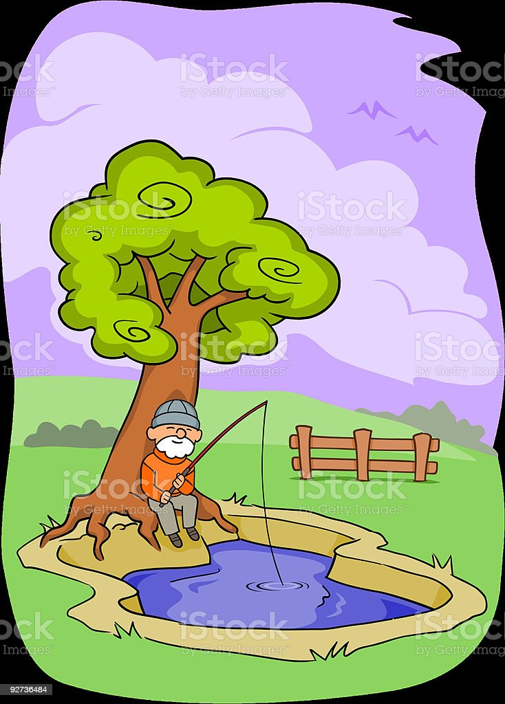 Old Man Fishing royalty-free stock vector art