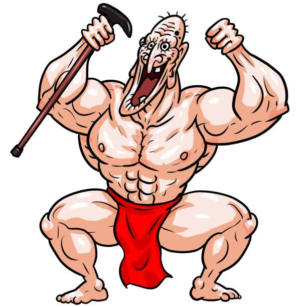 old man - old man naked cartoon stock illustrations, clip art, cartoons, & icons