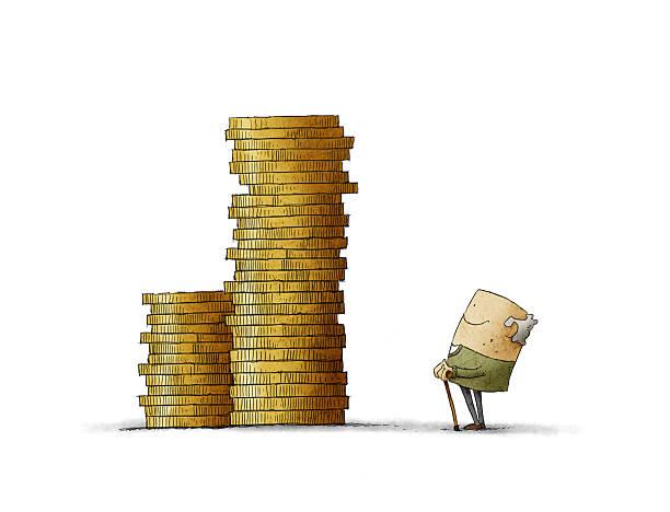 Old man looking at his savings vector art illustration