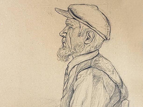 old man portrait - old man portrait drawing stock illustrations, clip art, cartoons, & icons