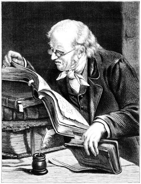 old man reading books (victorian illustration) - old man illustration pictures stock illustrations, clip art, cartoons, & icons