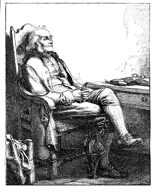 old man seated at desk interior scene from 1862 journal - old man photo pictures stock illustrations, clip art, cartoons, & icons