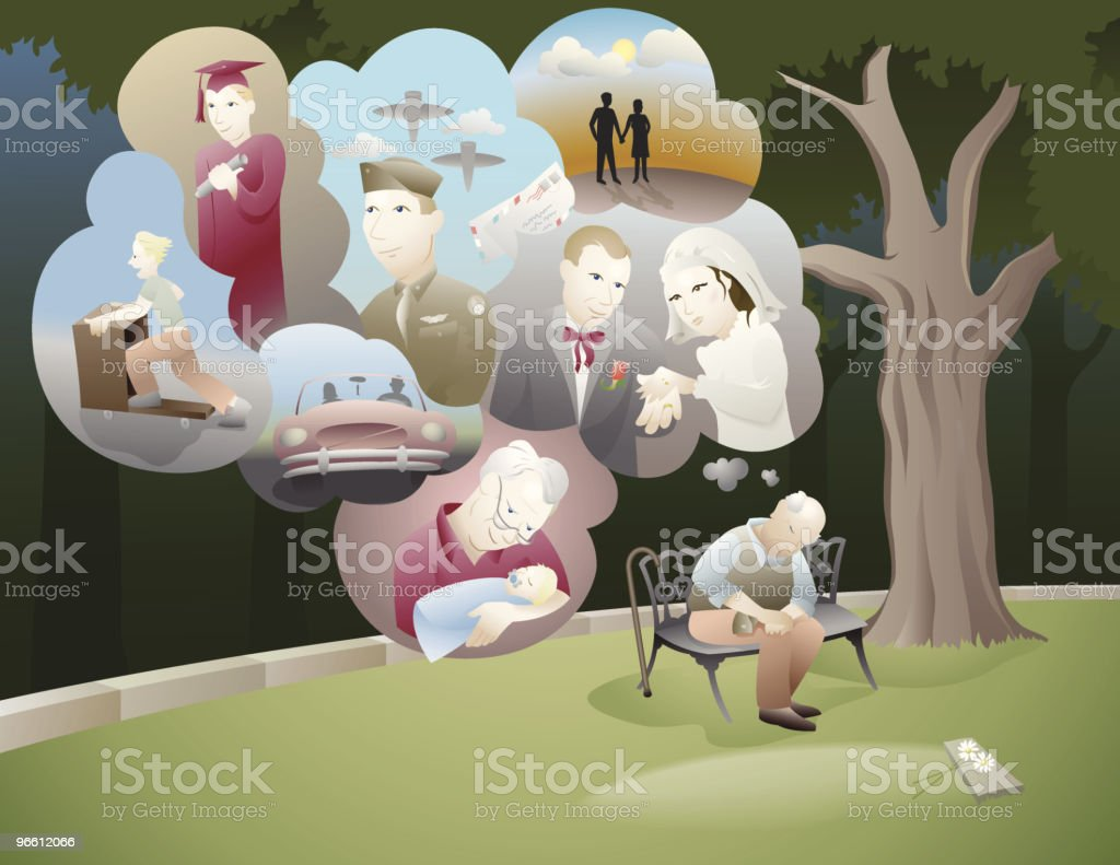 Old Man Sitting and Thinking of All His Memories royalty-free stock vector art