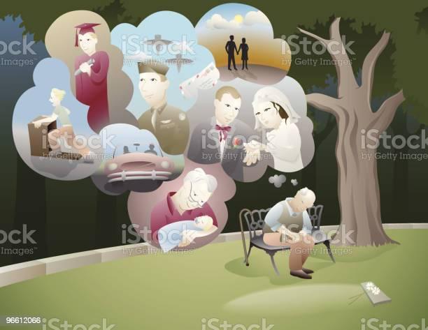 Old Man Sitting And Thinking Of All His Memories-vektorgrafik och fler bilder på Avkoppling