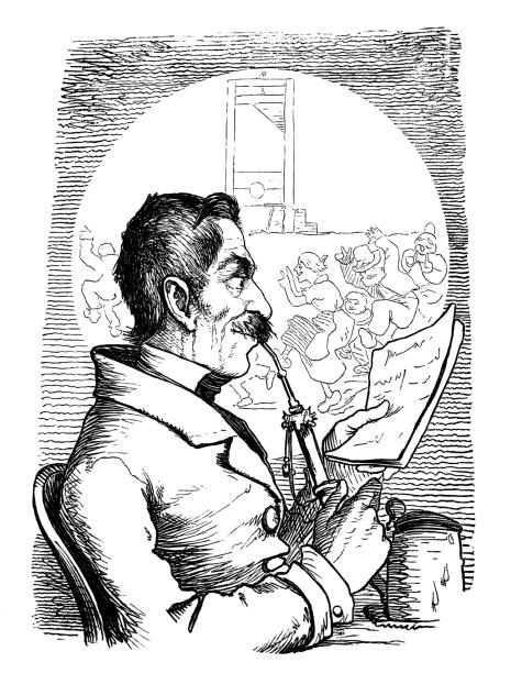 old man smokes a pipe. - 1867 - old man smoking pipe cartoons stock illustrations, clip art, cartoons, & icons