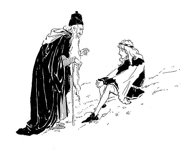 old man talking with young girl - old man long beard drawing stock illustrations, clip art, cartoons, & icons