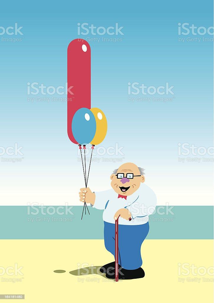 Old man walking vector art illustration