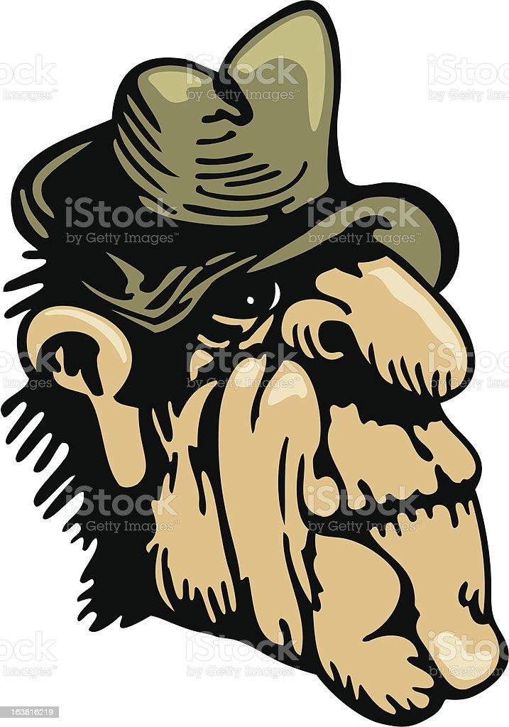 Old Man Wearing Hat vector art illustration
