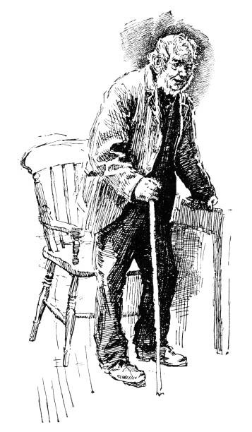 old man with a stick - old man sitting chair drawing stock illustrations, clip art, cartoons, & icons