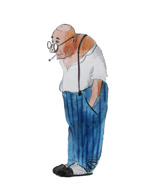old man with cigarette, hand drawing watercolor illustration - old man illustration pictures stock illustrations, clip art, cartoons, & icons