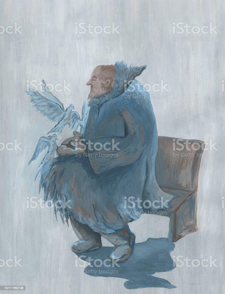 Op Een Bankje.Oude Man Met Duiven Zittend Op Een Bankje Stockvectorkunst En Meer