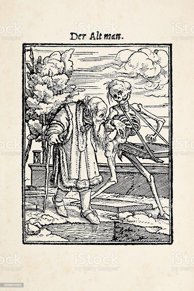 Hombre viejo con el esqueleto de danza de la muerte después de Holbein - ilustración de arte vectorial