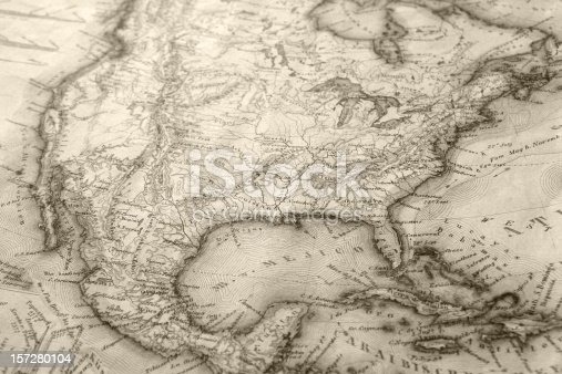 Picture of an old European map of North America dating back to 1843. for more images of this map please check my portfolio or site mail me. (1980)DL